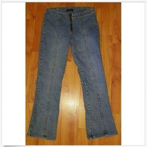 bebe Zipper Fly Zipper Leg Flared Cropped Jeans